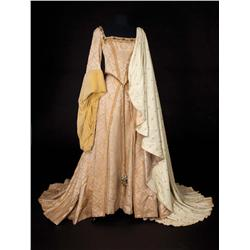 "Jean Simmons ""Queen Elizabeth I"" beige silk period gown with hat and cape from Young Bess"