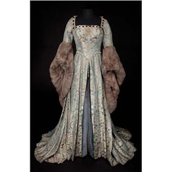 "Deborah Kerr ""Catherine Parr"" blue and gray damask period gown with fur trim from Young Bess"