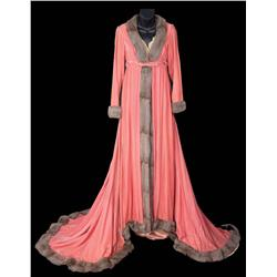Jean Simmons rose silk velvet dressing gown fully trimmed with gray squirrel from Desirée