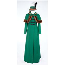 "Jean Simmons ""Desirée Clary"" green felt coat with mink-trimmed capelet and matching hat from Desirée"