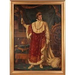 Monumental oil painting of Marlon Brando as Napoleon, Emperor of France, for Desirée publicity