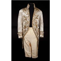 "Peter Ustinov ""Prince of Wales"" ivory brocade coat and satin pantaloons from Beau Brummell"