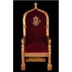 "The Virgin Queen monumental royal dining table ""throne"" of elaborately carved wood and velvet"