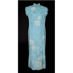 Jennifer Jones blue silk oriental dress by Charles Le Maire from Love is a Many Splendored Thing