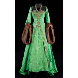 Lana Turner green satin gown with gold embroidered bodice &amp; overskirt, mink fur cuffs from Diane