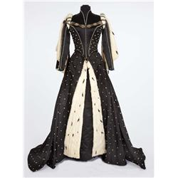 Lana Turner Black satin period gown with ermine cape designed by Walter Plunkett from Diane