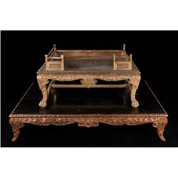 The King and I two-tiered Oriental gilt-wood throne and base