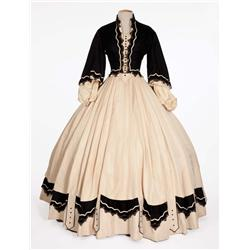 "Elizabeth Taylor ""Susanna Drake"" ivory and black velvet period dress from Raintree County"