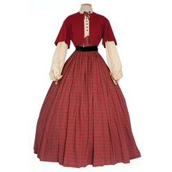 """Eva Marie Saint """"Nel Gaither"""" red plaid period dress and hat from Raintree County"""