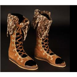 Jack Hawkins Quintus Arrius lace-up high sandal boots with faux-leopard trim from Ben-Hur