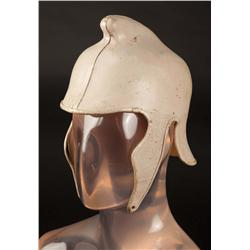 Corinthian driver leather helmets (2) plus pair of shin guards from Ben-Hur