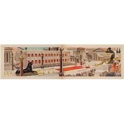 Cleopatra large-scale original concept painting on two boards, panorama of royal courtyard
