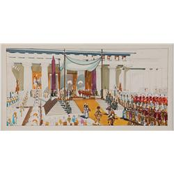 Cleopatra large-scale original concept paintings (2) of throne room, and Alexandria procession
