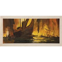 Cleopatra large-scale original concept paintings (3, on 4 boards) of a fiery sea-battle, and ships