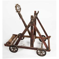 Miniature wooden model catapult from the war room in Cleopatra