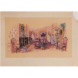 Original concept artwork for Debbie Reynolds' luxurious bedroom from The Unsinkable Molly Brown