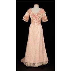 "Hermione Baddeley ""Buttercup Grogan"" peach silk floral gown from The Unsinkable Molly Brown"