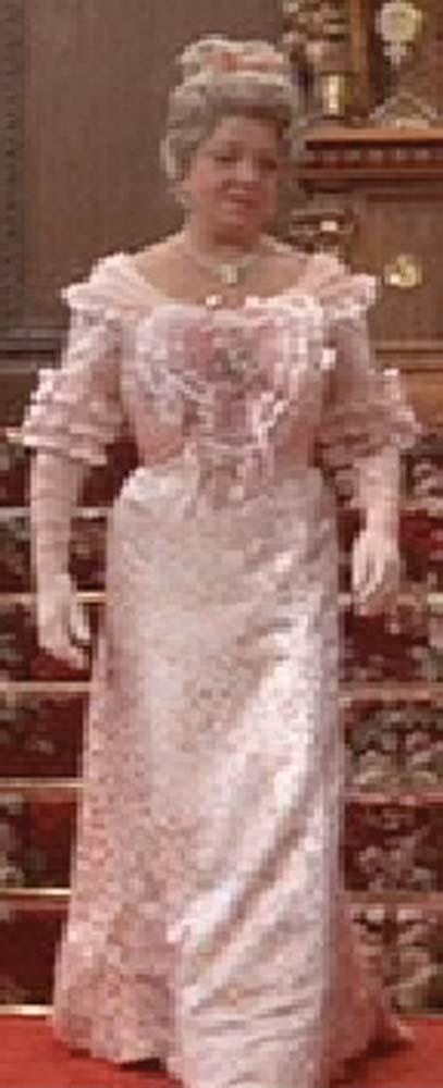 """Hermione Baddeley """"Buttercup Grogan"""" peach silk floral gown from The ..."""
