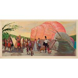 Doctor Dolittle large scale original concept painting of the doctor and friends