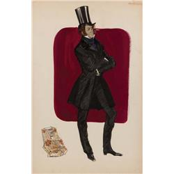 Theadora Van Runkle costume sketch of Rex Harrison from Doctor Dolittle