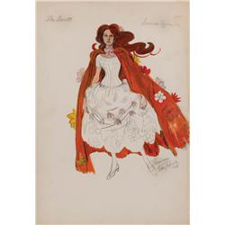 Theadora Van Runkle costume design sketch of Samantha Eggar from Doctor Dolittle