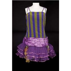 "Barbra Streisand ""Fanny Brice"" Purple and green stripped leotard with hat from Funny Girl"