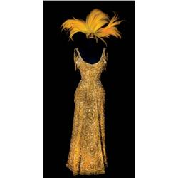 Barbra Streisand sleeveless gold velvet heavily jeweled gown, shoes and headpiece from Hello, Dolly!