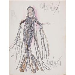 Edith Head and Theodora Van Runkle costume sketch of Mae West for Myra Breckinridge