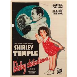Baby Take a Bow original Danish one-sheet poster for early Shirley Temple film