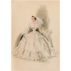 Edith Head costume sketch of Debbie Reynolds from The Pleasure of His Company