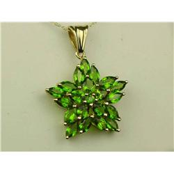 Stylish 10K Yellow Gold Ladies Pendant Fine set with over 20 fine green Chrome Diopside weighing app