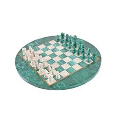 Beautiful Malachite & Marble Chess Set Brass inlays, chess pieces are half malachite and half marble