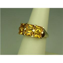 Very High Quality 10K Yellow Gold Ladies Ring Set with 6 custom Radiant cut intense orange Citrines
