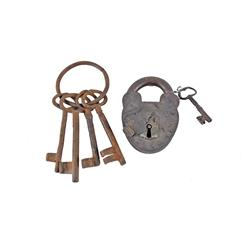 Collection of 2 Jail Items Including an early Jail padlock from a small town in old Mexico made by J