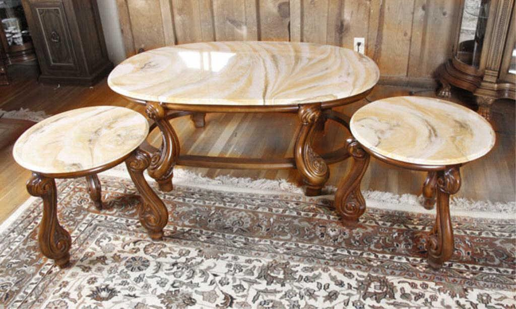 Contemporary French Provincial Coffee Table And Two End Tables With Simulated Marble Tops Yello Loading Zoom