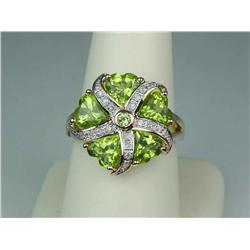 Ladies 14K YG Custom Design Ring Fine set with 5 heart shape green Peridot weighing approx. 4.00 car