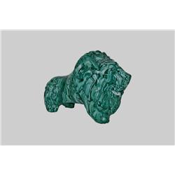"Malachite Statue of African Lion Heavy swirling, weighs 14.05 lbs, measures 10 1/2""x7 1/2"". Small ch"