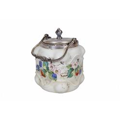 "Wave Crest Hand Painted Biscuit Jar Has floral motif, silver plated handle and lid, measures 7""x5"".H"