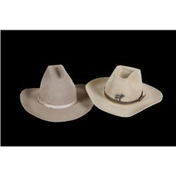Collection of 2 Cowboy Hats One O'Farrell, mist grey, size 7 1/2, custom made, in overall good condi
