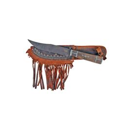 Early Skinning Knife w/Wood & Pewter Handle Blade measures 6 , 11  overall, with leather sheath that