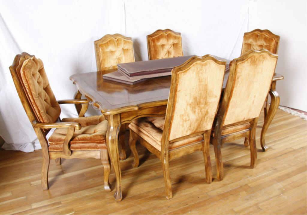 Dining Room Table Six Chairs French Provincial Pecan Five Side One Captain Loading Zoom