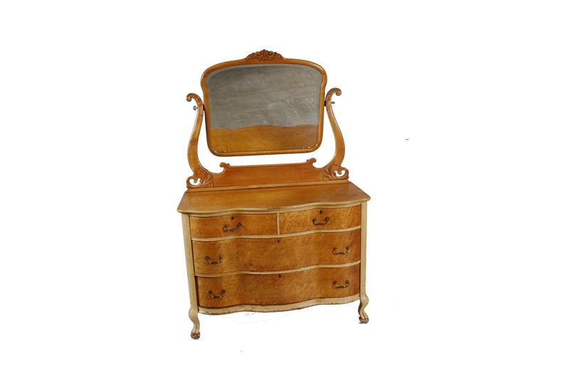 Antique Birdseye Maple Bedroom Set Consists of a 6 drawer High Boy dresser  with heart style. Loading zoom - Antique Birdseye Maple Bedroom Set Consists Of A 6 Drawer High Boy