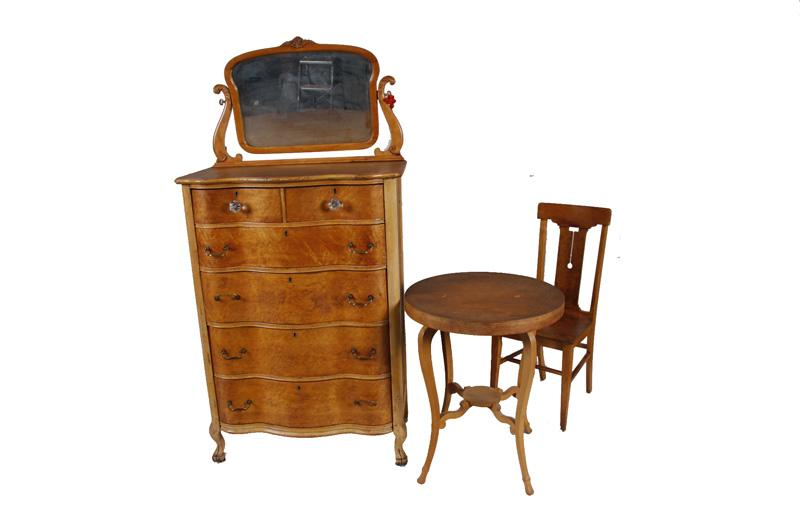 Antique Birdseye Maple Bedroom Set Consists Of A 6 Drawer High Boy Dresser With Heart Style Mirror