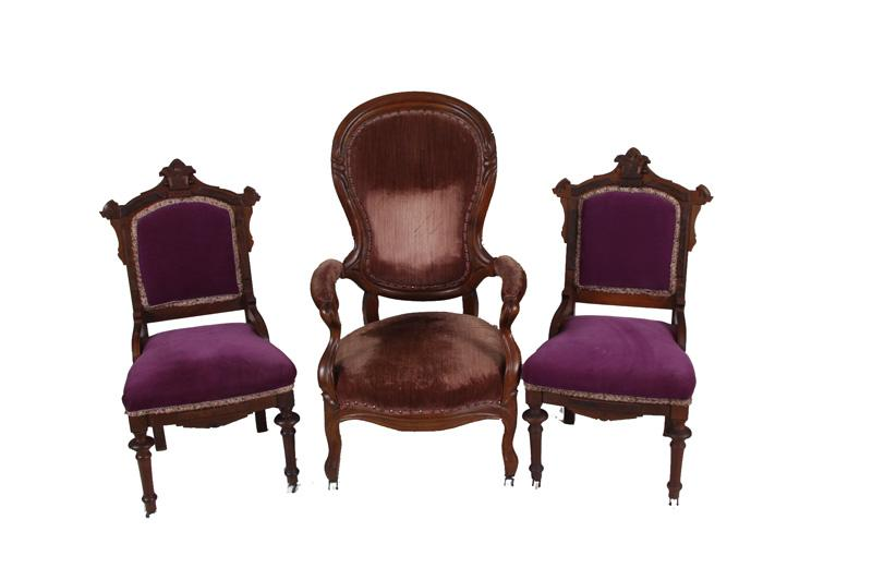 Collection of 3 Antique Chairs Two are in the Eastlake style with purple  upholstery, and. Loading zoom - Collection Of 3 Antique Chairs Two Are In The Eastlake Style With