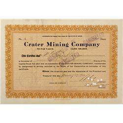 AZ - Flagstaff,Coconino County - 1920 - Crater Mining Company Stock Certificate - Fenske Collection