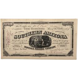 AZ - Pima County,1881 - Southern Arizona Mining and Milling Company Stock Certificate *Territorial*