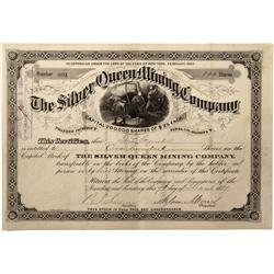 AZ - Pinal County,1884 - Silver Queen Mining Company Stock  Certificate*Territorial* - Fenske Collec
