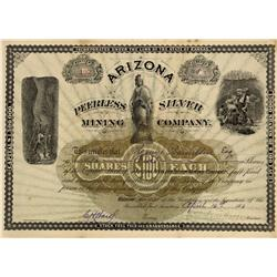 AZ - Quijotoa,Pima County - April 16, 1883 - Arizona Peerless Silver Mining Company Stock Certificat