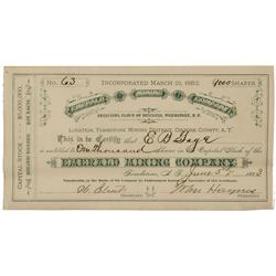 AZ - Tombstone,Cochise County - 1883 March 22, 1882 - Emerald Mining Company Stock Certificate *Terr