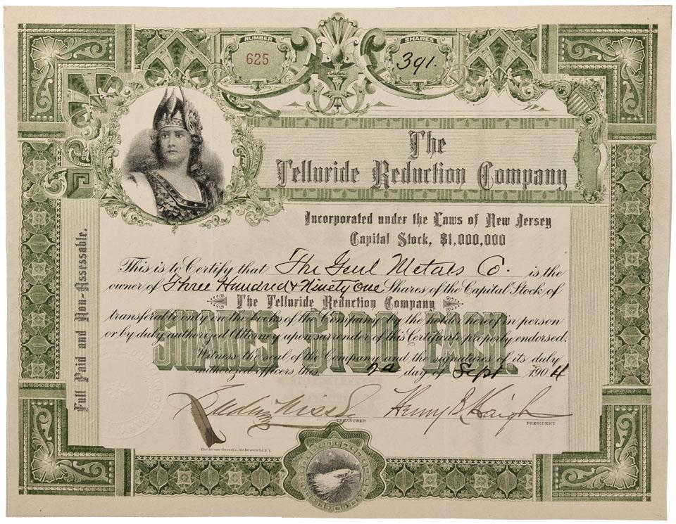 Co San Miguel County1904 Telluride Reduction Company Stock
